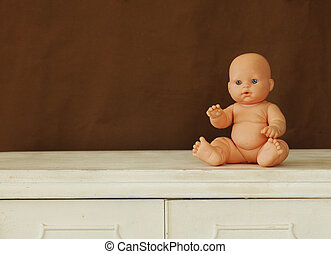 bebé, vendimia, tabla, siiting, muñeca