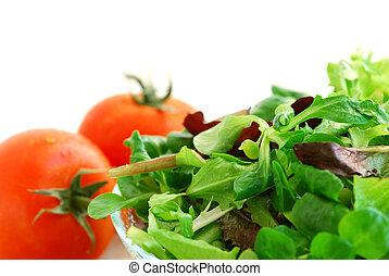 bebé, verde, tomates