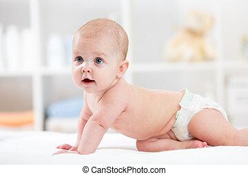 bebé, vida, infante, habitación, gatear