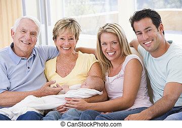 bebé, vida, sonriente, habitación, familia