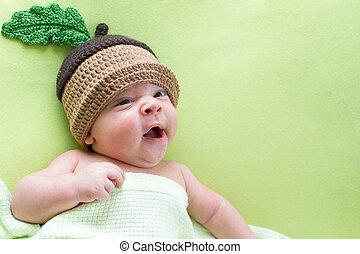 bebé, weared, sombreros, bellota