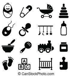 bebé, y, nacimiento, iconos