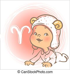bebé, zodiac., aries