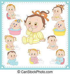 bebés, vector, niñas, ilustración