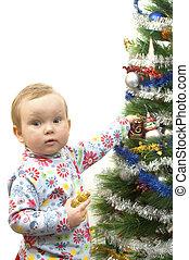 bebê, árvore, natal