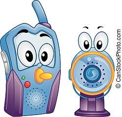 bebê, áudio, monitor video, mascote