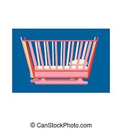 bebê, ícone, estilo, caricatura, cama