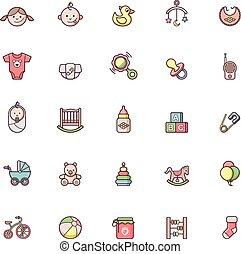 bebê, ícone, jogo