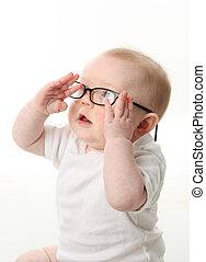 bebê, óculos uso