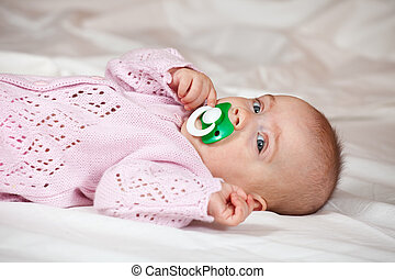 bebê, 5, menina, meses, antigas