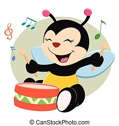 bebê, abelha, tocando, tambor
