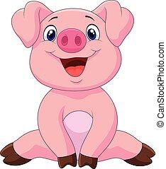 bebê, adorável, caricatura, porca