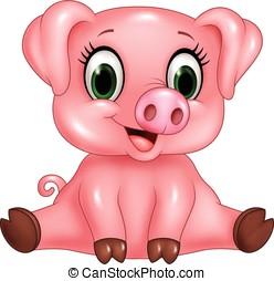 bebê, adorável, isolado, caricatura, porca