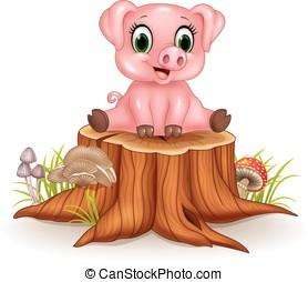 bebê, adorável, sentando, caricatura, porca