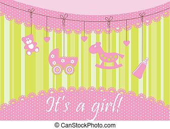 bebê, anúncio, cartão, chegada