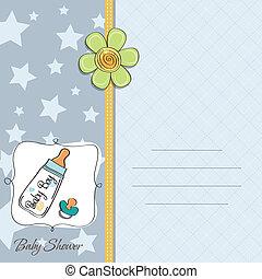 bebê, anúncio, cartão