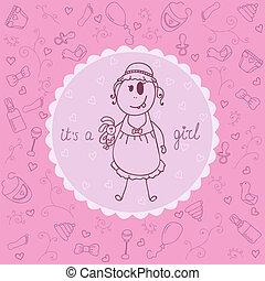 bebê, anúncio, menina, card.
