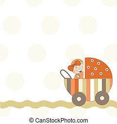 bebê, anúncio, menina, cartão