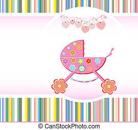 bebê, anúncio, menina, vetorial, card.