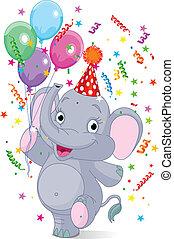 bebê, aniversário, elefante