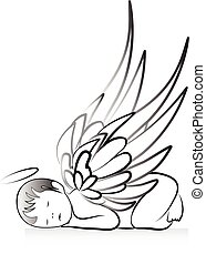 bebê, anjo, silueta, logotipo