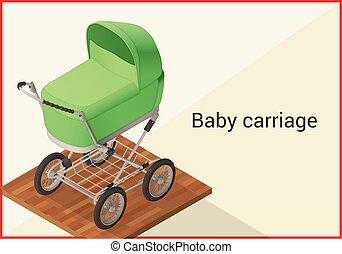 bebê, apartamento, carruagem, vetorial, isometric
