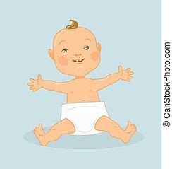 bebê, apartamento, vetorial, ilustração