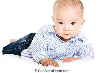 bebê, asiático