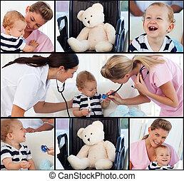 bebê, assistindo, equipe médica
