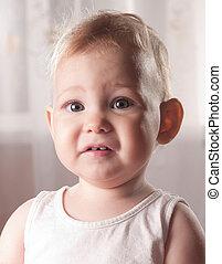 bebê, assustado, rosto