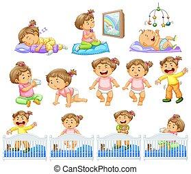 bebê, atividades, diferente, menina, jogo
