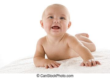bebê, baixo, sorrindo, mentindo