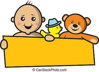 bebê, bandeira, segurando, vazio