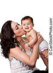 bebê, beijando, bochecha, feliz, mãe