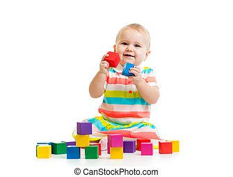 bebê, bloco jogo, brinquedos