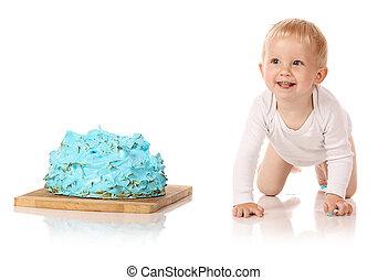 bebê, bolo, esmagando