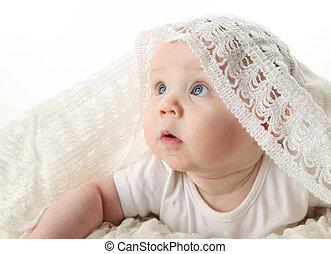 bebê bonito, cobertor, renda