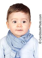 bebê bonito, com, olhos agradáveis