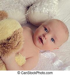 bebê bonito, com, olhos azuis grandes