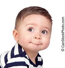 bebê bonito, olhos, agradável