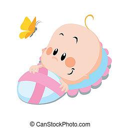 bebê, borboleta