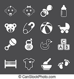 bebê, branca, ícones