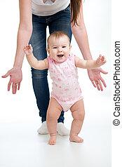bebê, branca, passos, isolado, primeiro