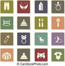 bebê, brinquedos, ícone, jogo