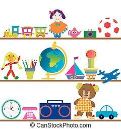 bebê, brinquedos, coloridos, prateleiras
