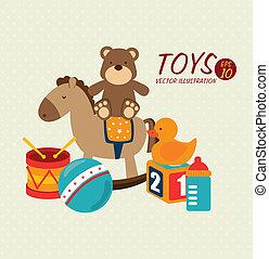 bebê, brinquedos, desenho