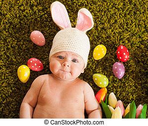bebê, bunny easter