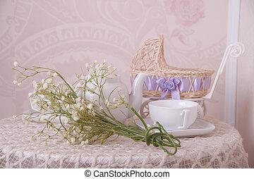 bebê, buquet, xícara chá, carrinho criança, primavera, composição