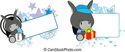 bebê, burro, caricatura, copyspace