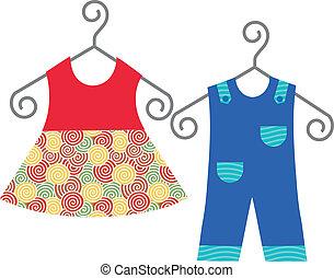 bebê, cabide, roupas suspensas